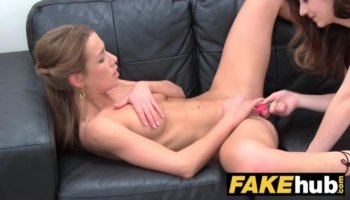 Blonde teen girl Briana Blair getting pushed hard on a leather couch and screaming loud